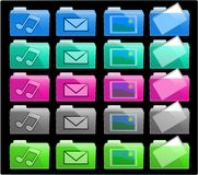 Colorful Icon Folders. Computer Folder Icons in various colours Stock Photography