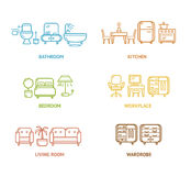 Colorful Icon Room Furniture Outline. Vector Stock Image