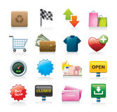 Colorful icon set. Collection or set of colorful icons or graphics including checkered flag, recycling, shopping bag and cart, wallet shirt heart, open and Royalty Free Stock Images