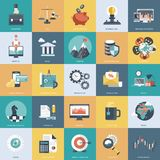 Colorful icon set for business, management, technology and finances. Flat objects for websites and mobile apps. Colorful icon set for business, management vector illustration