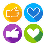 Colorful Icon Set Heart Shape Thumb Up Collection. Vector Illustration Stock Photo