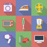Colorful Icon set of Household appliance. Home kitchen devices. Modern flat style with a long shadow Royalty Free Stock Photos