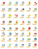 Colorful icon set of objects over hands Stock Photos
