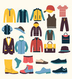 Colorful  icon set t in icons set of Fashion elements men Stock Photos