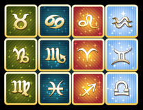 Colorful icon set of zodiac signs. Set of  astrological signs of zodiac on the colorful star backgrounds Royalty Free Stock Photography