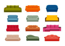 Colorful icon sofa set. Collection of furniture for home interiors Stock Images