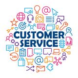 `CUSTOMER SERVICE` concept with relevant icons. Colorful icons arranged in a circular frame illustrating the concept of CUSTOMER SERVICE Stock Photography