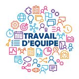 TRAVAIL D`EQUIPE concept with relevant icons royalty free illustration