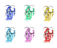 Colorful icons of the baby's head. On a white background Royalty Free Stock Photos