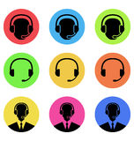 Colorful icons of call center and operator in headset, headset Stock Image
