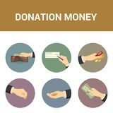 Colorful icons donations of money, vector Stock Images