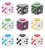 Colorful icons of fidget cubes. vector. Colorful icons of fidget cubes. stress relaxation toy isolated on white background. fidget cube relax symbol. vector Royalty Free Stock Images