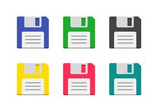 Colorful icons floppy disk. In a flat style, diskette sign vector illustration isolated on white background, symbol of save and recovery, backup information Stock Photography