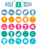 Colorful icons on of golf Stock Photography