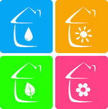 Colorful icons of heater, plumbing and landscaping Stock Photo