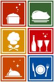 Colorful icons with kitchen objects Stock Photo