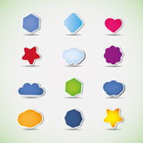Colorful icons, labels and tags. Collection of colorful 3D labels, icons and tags Royalty Free Stock Photos