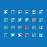 Colorful icons of medical subjects Stock Images