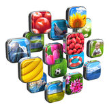 Colorful icons with pictures Stock Photo
