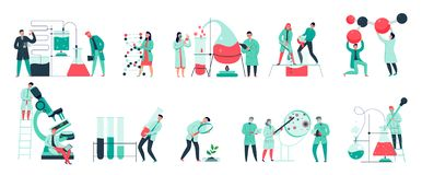 Science Flat Set. Colorful icons set with biochemical science laboratory staff performing various experiments flat isolated vector illustration stock illustration