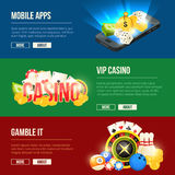 Colorful icons set of different casino entertainments. Vector banners set with place for your text. Gamble vip casino banner, mobile app gambling illustration royalty free illustration