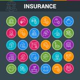Colorful icons set. On theme insurance. Insurance of life, house, money, health, car. Vector illustration Royalty Free Stock Images