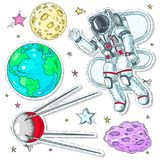 Colorful icons, stickers astronaut spaceman, planet earth, asteroid and satellites. Vector illustration sketch, of comic style colorful icons, set cosmos Royalty Free Stock Photos