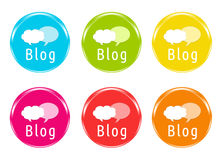 Colorful icons to access Blog. In blue, green, yellow, pink, red and orange colors Royalty Free Stock Photography