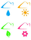 Colorful icons under house roof Royalty Free Stock Image
