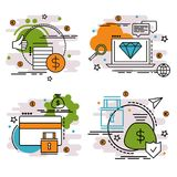 Set of outline icons of finance and money. Colorful icons for website, mobile, app design and print Royalty Free Stock Photo