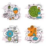 Set of outline icons of Strategy. Colorful icons for website, mobile, app design and print Royalty Free Stock Photo