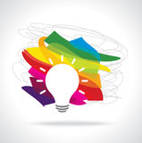 Colorful idea bulb vector on white background Stock Photos
