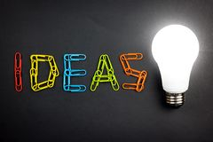 Ideas word with light bulb stock photos