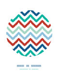Colorful ikat chevron frame circle decor pattern Stock Photo