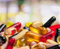 Colorful pills and tablets on background Royalty Free Stock Image