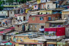Colorful houses of the poor inhabitants Luandas. Colorful houses of the poor inhabitants of Luanda, Angola. These ghettos resemble Brasilian favelas Royalty Free Stock Photo