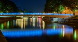 Colorful Illuminated Bridge. Long Exposure. Stock Photo