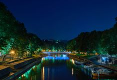 Colorful Illuminated Bridge. Long Exposure. Royalty Free Stock Photos