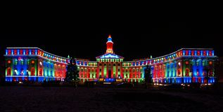 Colorful illuminated building. Wide angled view of Civic Center lighted in bright colors at night, Denver, Colorado, U. S. A royalty free stock photography