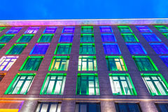 Colorful illuminated building in Frankfurt Main, Germany. Colorful illuminated office building in the city of Frankfurt Main at the Luminale 2016 festival. March stock image