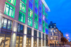 Colorful illuminated building in Frankfurt Main, Germany. Colorful illuminated office building in the city of Frankfurt Main at the Luminale 2016 festival. March royalty free stock photography