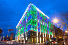 Colorful illuminated building in Frankfurt Main, Germany. Colorful illuminated office building in the city of Frankfurt Main at the Luminale 2016 festival. March stock images
