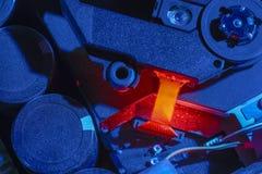 Colorful illuminated electronics closeup Stock Images