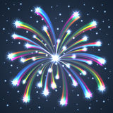 Colorful Illuminated Fireworks. Vector Illustration Royalty Free Stock Photos