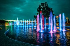 Colorful musical fountain in Warsaw Stock Images