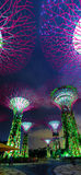 Colorful Illuminated Towers of Gardens by the Bay in Singapore Royalty Free Stock Photo