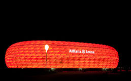 The colorful illumination of Allianz Arena Royalty Free Stock Photography