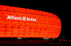 The colorful illumination of Allianz Arena Stock Photo