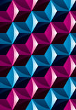 Colorful illusive abstract geometric seamless pattern with 3d cu. Bes. Vector stylized texture, best for graphic and web design Royalty Free Stock Photos