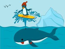 Penguin in hat surfing on whale's spout royalty free illustration